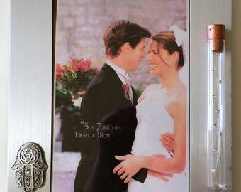 Jewish Wedding Picture Frame - Jewish Engagement Gift - Holds Shards - Chamsa wedding Photo Frame