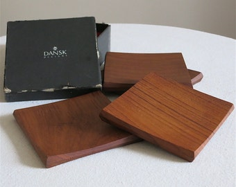 Vintage Dansk Teak Coasters - Set of Four by Jens Quistgaard IHQ 1960s Danish Modern Barware - Wood Drinks Holder