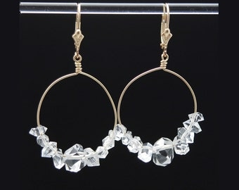 Herkimer Diamond earrings in 14K Gold Filled / Herkimer earrings / Herkimer jewelry / Herkimer Diamond crystals