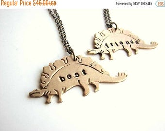 SALE best friends dinosaur necklace set - stegosaurus personalized custom jewelry bff necklace - As seen on Live with Kelly & Michael