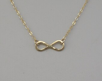 14k Solid gold Infinity pendant necklace, Hammered Infinity necklace, 14k gold necklace-Lowest price .