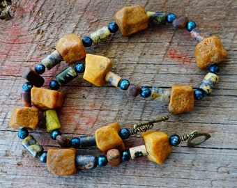 Boho Necklace, Gemstone Necklace, Boho Jewelry, Blue and Brown, Rustic Style