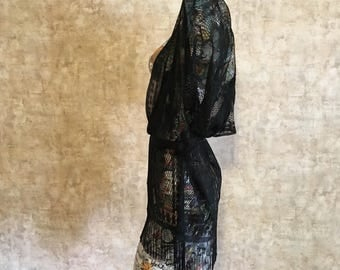 Vintage Black Fringe Lace Jacket Cover Up small medium large