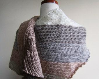 Striped Shawl Scarf Asymmetrical Head Wrap Hand Knit Wool Acrylic Ladies Tan - Size Medium