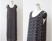 1990's Long Floral Black Dress L XL, Cotton Sleeveless Dress, Maxi Grunge Dress