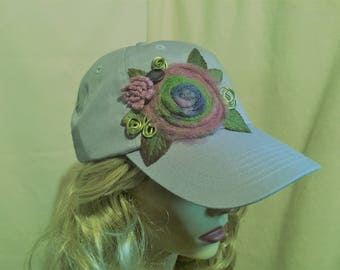 Light Blue Baseball Cap decorated with A Felted Flower and Green Wire Accents