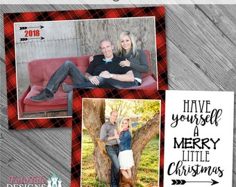 INSTANT DOWNLOAD - Plaid Tidings Christmas Card No. 5 - custom Christmas card template for photographers on whcc specs