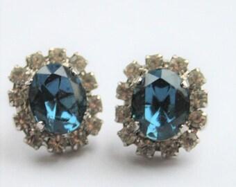 Vintage blue crystal earrings.  Clip on earrings. Diamante earrings