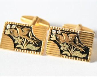Vintage bird cufflinks. Gold and black cufflinks.  Damascene cufflinks