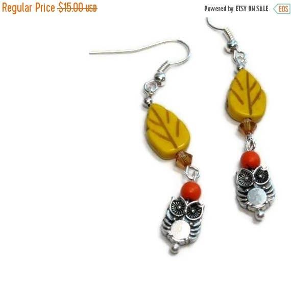 Owl Dangle Earrings, Woodland, Yellow, Orange, Bird, Owl Jewelry, Dangle, Handmade, Animal