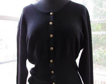 Black Vintage 100 Percent Pure Cashmere Cardigan Sweater with Gold Buttons, Small/Medium