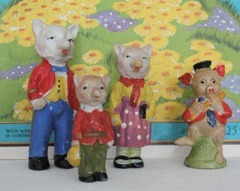 4 Vintage Japanese Bisque fox Family and Pig Figurines