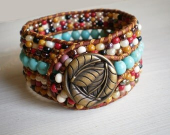 Boho Jewelry Leather Cuff Turquoise Jewelry Wide Bracelet Cuff