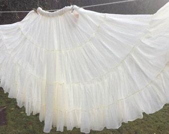 Gypsy skirt, tribal belly dance skirt, cream cotton skirt, flamenco, boho skirt, belly dance costume, 20 yard skirt,  women's skirt