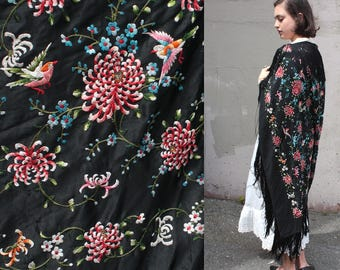 Vintage 1940s Silk Piano Shawl with Fringe // Black Floral and Bird Chinese Embroidered Shawl
