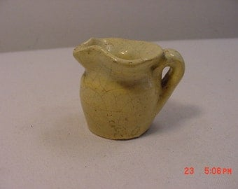 Vintage Miniature Stoneware Pottery Pitcher Yellow Ware Glaze  17 - 366
