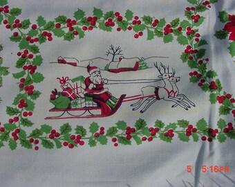 Vintage Christmas Tablecloth  Santa Sleigh Reindeer Carolers Holly Poinsettia 17 - 452