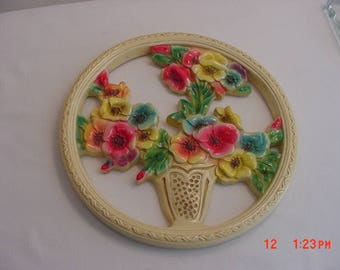 Vintage Chalk Flower Basket Wall Hanging In Original Box  17 - 587