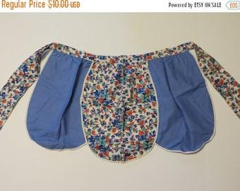 ON SALE Vintage Feedsack Apron-Blue Floral Print