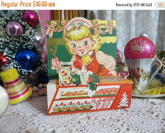 ON SALE Vintage Retro Mid Century Christmas Greeting Card-Candy-Girl-Gingerbread-Unused-Childrens-Stand-Up-3-D