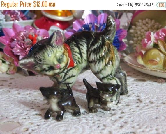 ON SALE Vintage Tabby Kitten Figurines-Set of 3