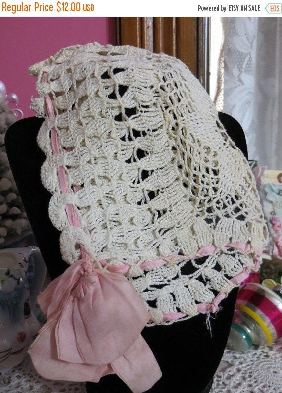 ON SALE Old Crocheted Victorian Baby Bonnet with Pink Silk Ribbon Ties-Excellent