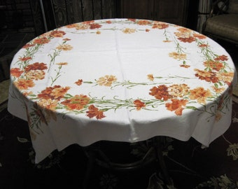 Vintage Mid Century Retro Linen Rust Orange Carnation Florals Tablecloth Circa 1950's