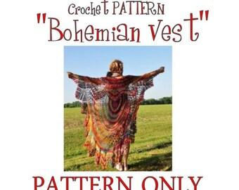 Bohemian Vest Crochet PATTERN-- Circle Vest Pattern/ Boho Vest pattern/ Crochet Boho vest/ Stevie Nicks Style Vest