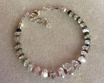 Herkimer diamond and tourmaline bracelet with .925 silver