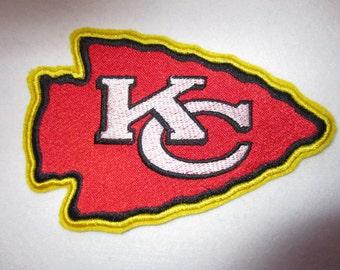 Kansas City Chiefs Iron On Applique, Embroidered Kansas City Chiefs Iron On Patch, Applique Patch