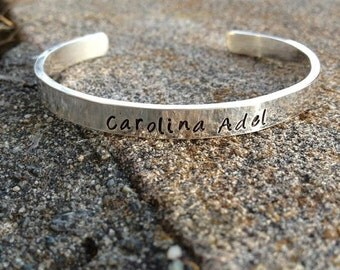 10 dollars off: Heavy Sterling Silver Classic Cuff - Personalized - 11 font choices