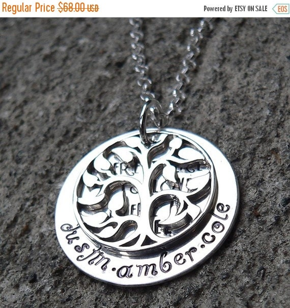 20% OFF - Where there is Love, there is Life - Sterling family necklace