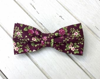 Deep Plum Shabby Chic Bow Tie, Floral Bow Tie, Rose Pattern Bow Tie, Bow Tie for Wedding, Mens Bow Tie, Kid Bow Tie, Groom Groomsmen Bowtie