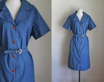 vintage 1950s dress - CHAMBRAY & RED shirt dress / L-Xl
