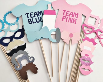 Blue or pink photo props, gender reveal party photo props, baby shower photo props, gender reveal photo booth props