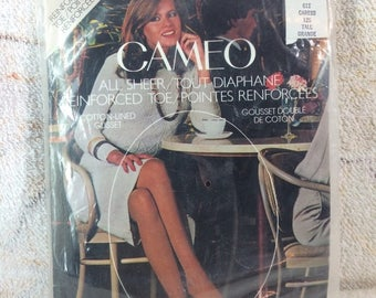 "10% OFF 1980s Cameo Brand Sheer Nylon Panty Hose Lingerie Size Tall Large 5'6""-6'0"" 150-180 Caress"