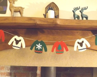 Christmas Sweater Garland, Christmas garland, Christmas Jumper bunting, Ugly Sweater Party, Christmas Sweater Bunting, Christmas Jumper