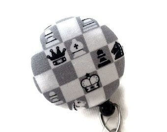 Retractable ID Badge Reel/ID Badge Holder/Fabric Badge Reel/Retractable Lanyard/Nurses Key Card Holder/Teachers Gift/Chess Game Gray White