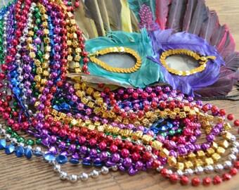 6 Necklaces Mardi Gras Beads Acrylic Metallic Mixed Colors 32 inch