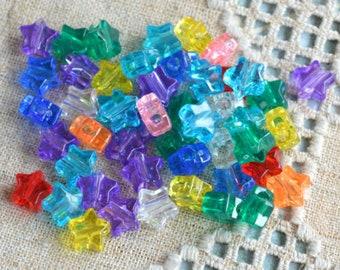100pcs Acrylic Bead Pony Mix Transparent Multicolored 13mm Star Beads