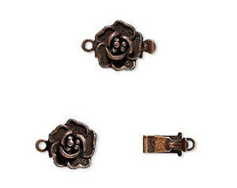 10pcs Clasp Box 9x9mm Rose Flower Antiqued Copper Plated Brass