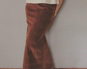 70s chestnut corduroy maxi skirt | tulip maxi skirt