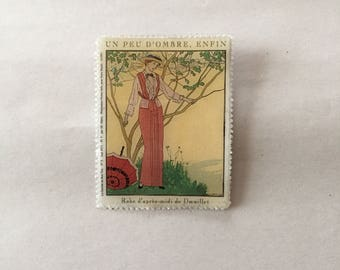 SALE...1913th post card pin | 19th century lady in the garden brooch | post card brooch