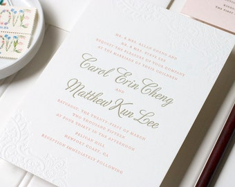Blind Deboss Letterpress Wedding Invitation, Lace Letterpress Wedding, Romantic Blush Letterpress Invite - Letterpress - Caroline - SAMPLE