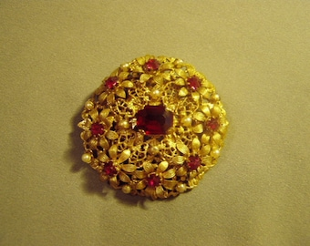 Vintage Czechoslovakia Ornate Brass Flower Pin With Red Rhinestones Tiny Faux Pearls 8958