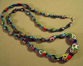 "Vintage Italian Art Glass Millifiori Bead 36"" Long Necklace Sterling Clasp Murano 9202"
