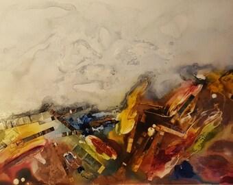 Earth & Sky V - mixed media painting, abstract, mixie, by Shelli Finch of StressArt