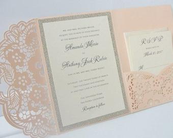 Wedding Invitation, Laser Cut Pocketfold Wedding Invitation, Pocketfold Invite, Lace Wedding Invite, LASER POCKETFOLD 2 GLITTER Coral Blush