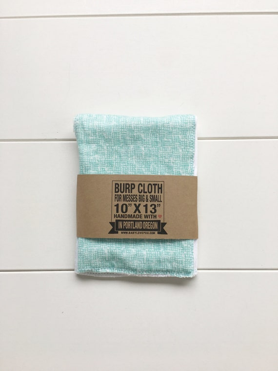Turquoise Mini Plaid Cotton Flannel Burp Cloth - Baby Shower Gift - New Mom Essential