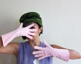Vintage 1950s Pink Gloves / 50s Pink Cotton Midcentury Gloves by Shalimar